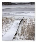 Boat Dock In Winter On A Lake No.0243 Fleece Blanket