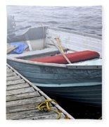 Boat In Fog Fleece Blanket