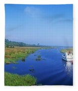 Boat In The River, Shannon-erne Fleece Blanket