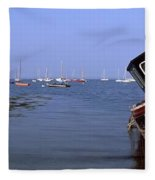Boat Moored In The Sea, Strangford Fleece Blanket