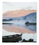 Boat On A Tranquil Lake Killarney Fleece Blanket