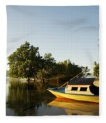 Boat On Sandy Beach Fleece Blanket