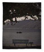 boat on the Lago Maggiore Fleece Blanket