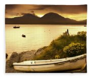 Boat On The Shore At Sunset, Island Of Fleece Blanket