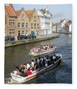 Boat Tours In Brugge Belgium Fleece Blanket