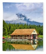 Boathouse On Mountain Lake Fleece Blanket