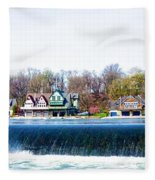 Boathouse Row From Fairmount Dam Fleece Blanket