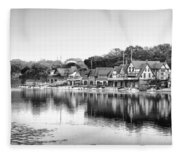 Boathouse Row In Black And White Fleece Blanket