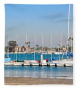 Boats And Blue Water Fleece Blanket