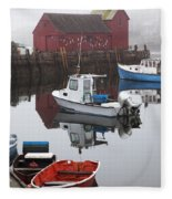 Boats At Rockport Harbor Fleece Blanket
