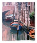 Boats Bridge And Reflections In A Venice Canal Fleece Blanket