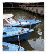Boats In Amsterdam. Holland Fleece Blanket