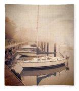 Boats In Foggy Harbor Fleece Blanket