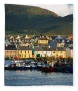Boats In Harbor By Waterfront Village Fleece Blanket