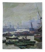Boats In The Pool Of London Fleece Blanket