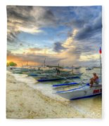 Boats Of Panglao Island Fleece Blanket