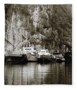 Boats On Halong Bay 1 Fleece Blanket