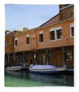 Boats On The Canal - Venice Fleece Blanket