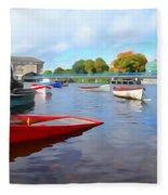 Boats On The Garavogue Fleece Blanket