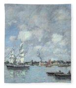 Boats On The Garonne Fleece Blanket