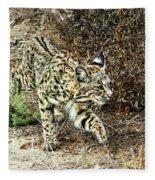 Bobcat Stalking Prey Fleece Blanket