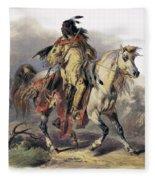 Bodmer: Blackfoot Horseman Fleece Blanket
