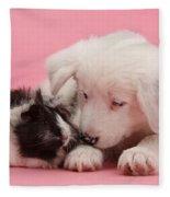 Border Collie Pup And Guinea Pig Fleece Blanket