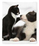 Border Collie Pup And Tuxedo Kitten Fleece Blanket
