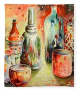 Bottles And Glasses And Mugs 03 Fleece Blanket