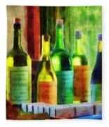 Bottles Of Wine Near Window Fleece Blanket