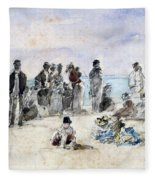 Boudin: Beach Scene, 1869 Fleece Blanket