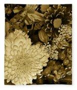 Bouquet In Sepia Fleece Blanket