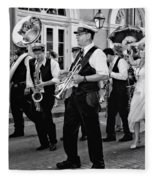 Bourbon Street Second Line Wedding New Orleans In Black And White Fleece Blanket