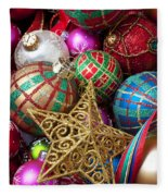 Box Of Christmas Ornaments With Star Fleece Blanket