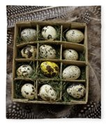 Box Of Quail Eggs Fleece Blanket