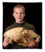 Boy Holding Kodiak Bear Skull Fleece Blanket