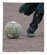Boy Playing Soccer With A Ball Fleece Blanket