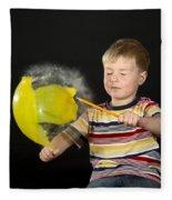 Boy Popping A Balloon Fleece Blanket