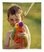 Boy Spraying Water Gun Fleece Blanket