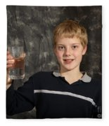 Boy With A Hot Glass Of Water Fleece Blanket