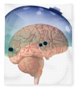 Brain In Skateboard Helmet Fleece Blanket