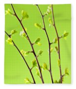 Branches With Green Spring Leaves Fleece Blanket