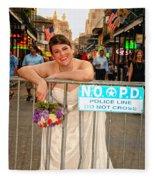 Bride And The Barricade On Bourbon Street Fleece Blanket