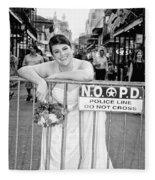 Bride On The Barricade On Bourbon St Nola Fleece Blanket