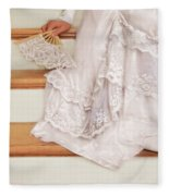 Bride Sitting On Stairs With Lace Fan Fleece Blanket
