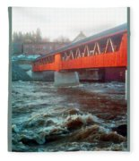 Bridge Across The Ammonoosuc River Fleece Blanket