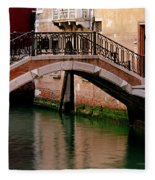 Bridge And Striped Poles Over A Canal In Venice Fleece Blanket