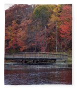 Bridge In Autumn Fleece Blanket