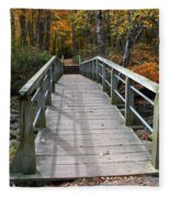 Bridge Into Autumn Fleece Blanket