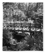 Bridge Of Centralpark In Black And White Fleece Blanket